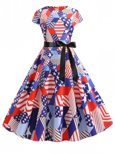 White Zipper Belt Bow 4th July American Flag Print Independence Day Draped High Waisted Vintage Tutu Maxi Dress