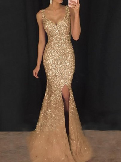 Golden Patchwork Sequin V-neck Sleeveless Slit Elegant Banquet Wedding Prom Maxi Dress