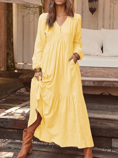 Yellow Buttons V-neck Puff Sleeve Ruffle Draped Bohemian Flowy Maxi Dress