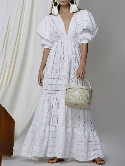White Lace Cut Out Eyelet Embroidered Deep V-neck Puff Short Sleeve Ruffle Big Swing Cute Maxi Dress