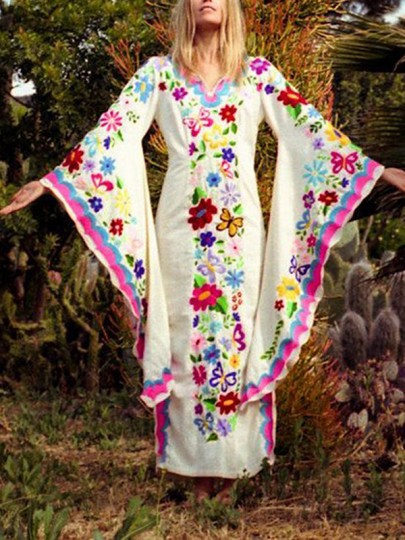 Pink Mexican Embroidered Print V-neck Flare Sleeve Double Slit Bohemian Novelty Witchcraft Maxi Dress