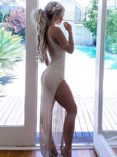 Golden Bright Wire Grenadine Backless Shoulder-Strap Round Neck Sleeveless Thigh High Double Side Slits Bikini Cover Up Beach Maxi Dress