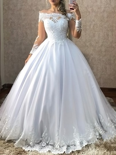 White Patchwork Lace Off Shoulder Pleated Tutu Plus Size Wedding Prom Evening Party Maxi Dress