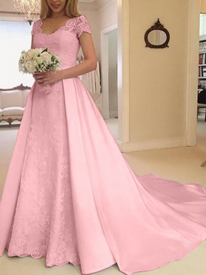 Pink Patchwork Lace Cut Out V-neck Short Sleeve Big Swing Wedding Prom Maxi Dress