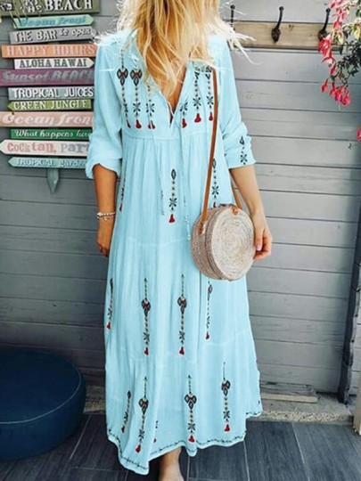 Light Blue Floral Mexico Embroidered Print Drawstring V-neck Long Sleeve Flowy Bohemian Midsommar Costume Maxi Dress