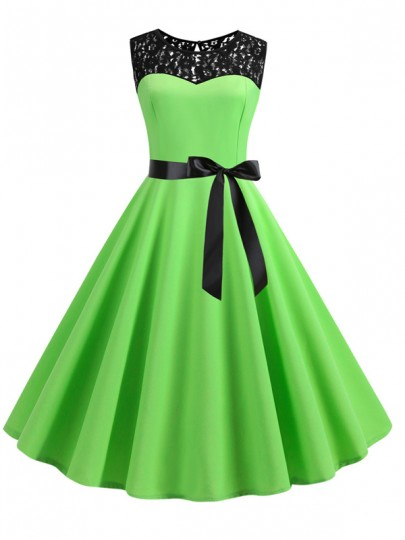 Light Green Patchwork Lace Sashes Big Swing A-Line Cocktail Party Midi Dress