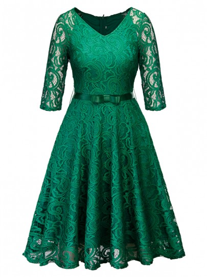Green Lace Bow Belt V-neck Long Sleeve Cocktail Party Midi Dress