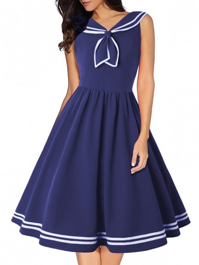 Navy Blue Patchwork Sleeveless U-neck Fashion Midi Dress