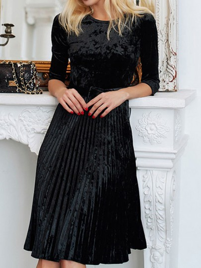 Black Patchwork Belt Round Neck Elbow Sleeve Elegant Midi Dress