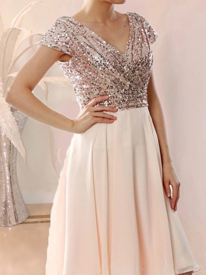 Beige Patchwork Sequin Wrap Glitter Sparkly V-neck Tulle Ball Gown Prom Mini Dress