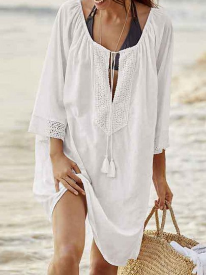 White Patchwork Embroidery Tassel V-neck Beach Cover Up Sunscreen Mini Dress