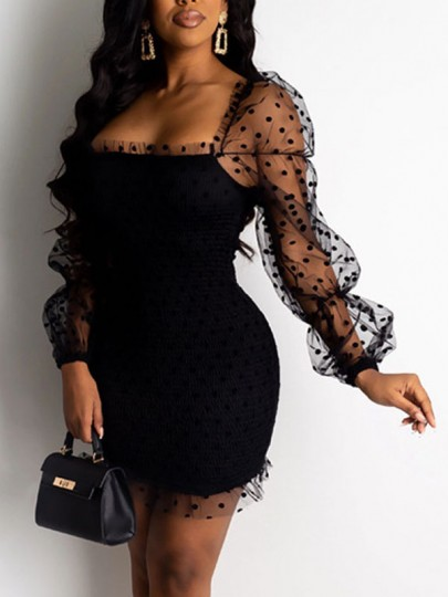 Black Polka Dot Grenadine Bodycon Party Mini Dress