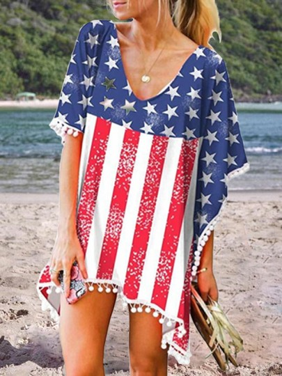 White 4th July American Flag Print Independence Day Patchwork Pom V-neck Short Sleeve Bikini Cover Up Beach Mini Dress