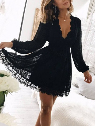 Black Patchwork Lace V-neck Long Sleeve Cocktail Party Mini Dress