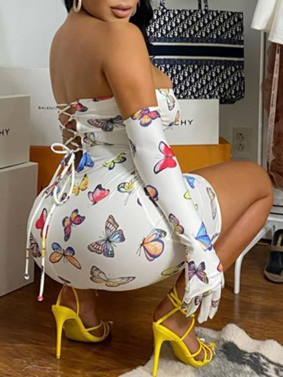 White Coloful Butterfly Print Bandeau Drawstring Bodycon Mini Dress With Gloves