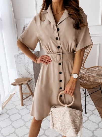 Khaki Single Breasted Belt V-neck Short Sleeve Mini Dress
