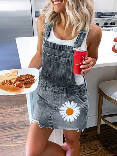 Grey Daisy Pocket Strap High Waisted Cute Denim Overall Mini Dress