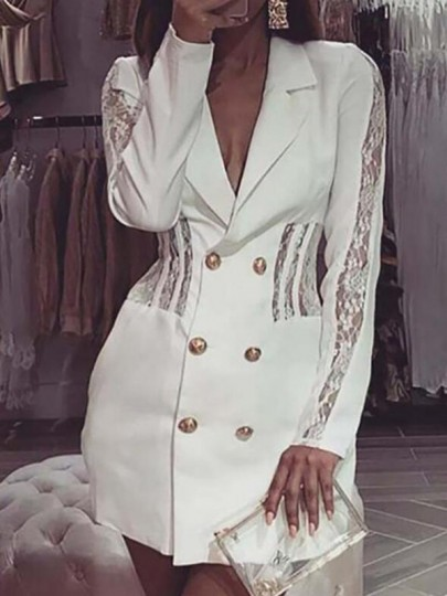 White Patchwork Lace Turndown Collar Double Breasted Blazer Elegant Party Mini Dress