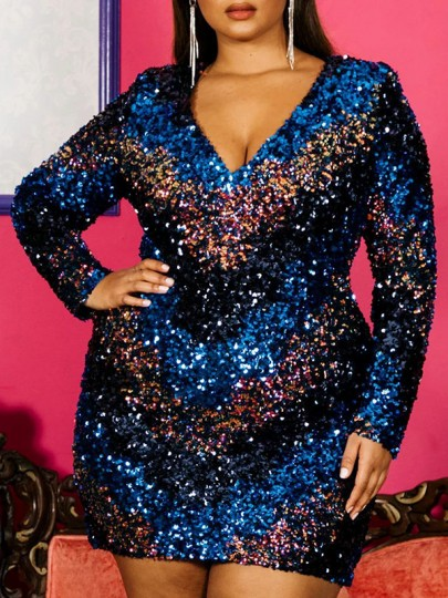 Blue Sequin Striped Print V-neck Long Sleeve Glitter Sparkly Birthday Party NYE Plus Size Mini Dress