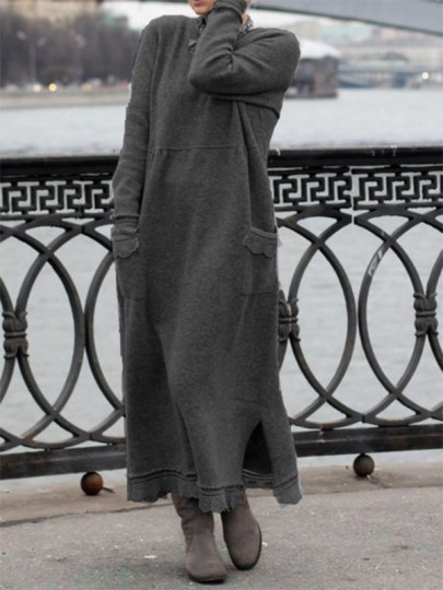 Grey Patchwork Lace Round Neck Long Sleeve Fashion Sweater Dress