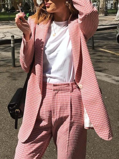 Pink Plaid Buttons Band Collar Long Sleeve Fashion Vintage Blazer Suits