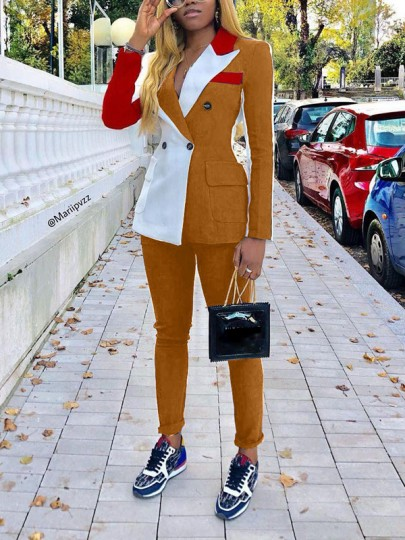 Orange Buttons Pockets Two Piece Elegant Suit Long Jumpsuit