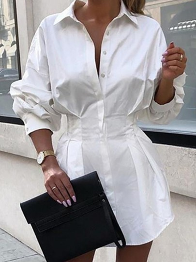 White Patchwork Single Breasted Long Sleeve V-Neck Fashion Casual Work Blouse