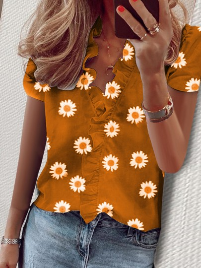 Yellow Small Daisy Ruffle Short Sleeve V-neck Fashion Blouse