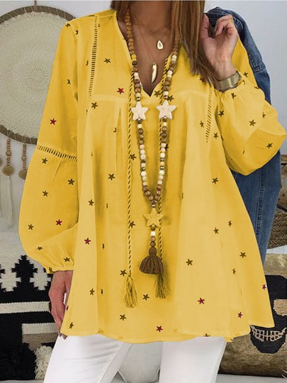 Yellow Floral Pattern Cut Out Star Long Sleeve V-neck Fashion Blouse