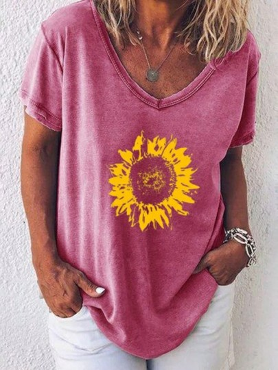 Pink Sunflower V-neck Short Sleeve Casual Fashion Blouse