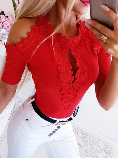 Red Patchwork Lace Cut Out Round Neck Short Sleeve Blouse