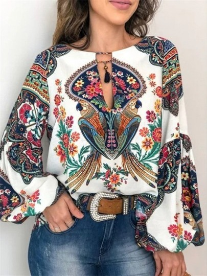 White Tribal Floral Print V-neck Long Sleeve Oversize Bohemian Blouse
