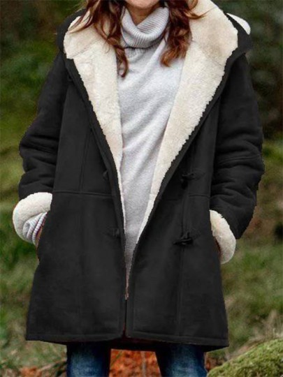 Black Patchwork Pockets New Fashion Latest Women Hooded Long Sleeve Modern Coat