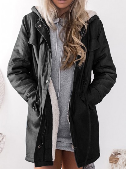 Black Patchwork Pockets Hooded Long Sleeve Fashion Padded Coat