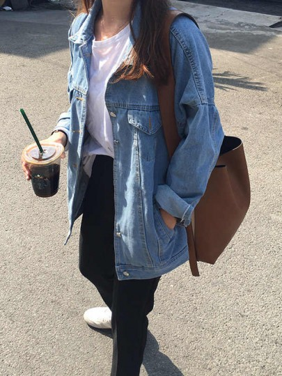 Blue Single Breasted Pockets Turndown Collar Long Sleeve Jeans Coat