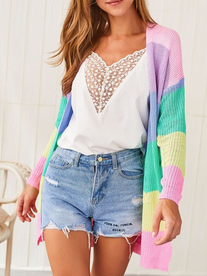 Pink Color Block Rainbow Cute Casual New Fashion Latest Women Cardigans
