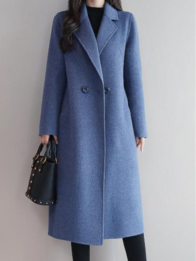 Blue Button Pocket Turndown Collar Long Sleeve Elegant Wool Coat