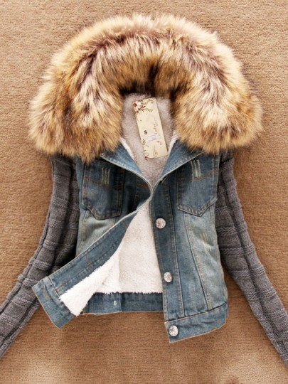 Blue Button Fur Turndown Collar Long Sleeve Warme Fashion Jean Coat