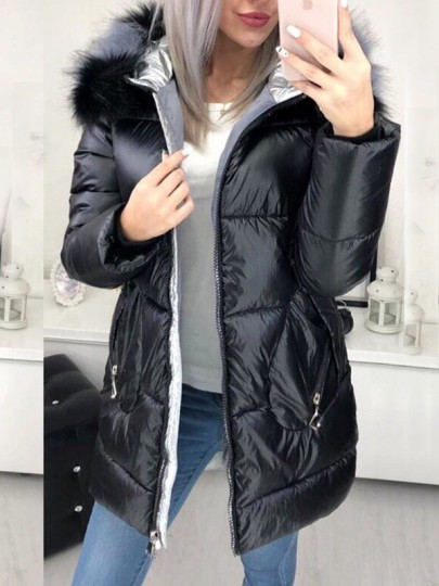Black Zipper Pockets Fur Hooded Long Sleeve Fashion Padded Coat