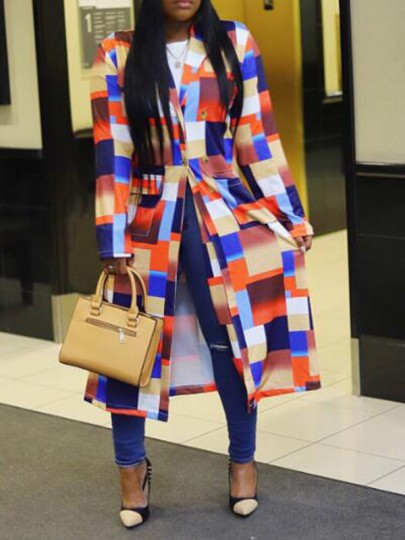 Orange-Blue Plaid Pockets Turndown Collar Double Breasted Cardigan Outerwear Coat