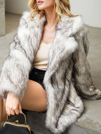 White Faux Fur Turndown Collar Long Sleeve Elegant Cardigan Coat Outerwear