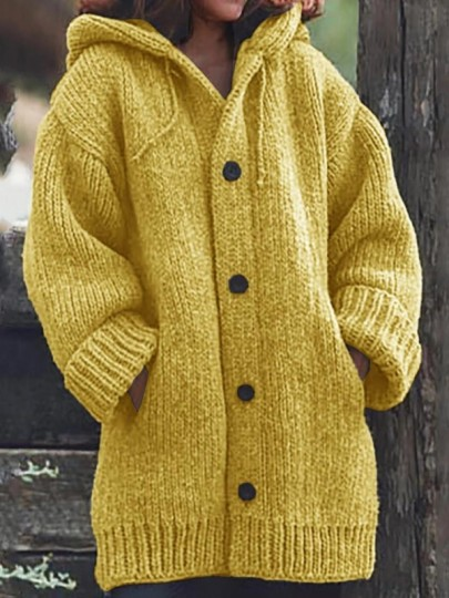 Yellow Pockets Single Breasted Hooded Long Sleeve Oversize Cardigan Sweater