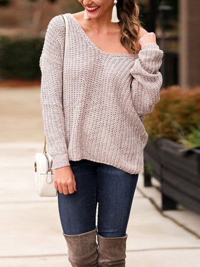 Grey Cut Out Asymmetric Shoulder Long Sleeve Backless Pullover Sweater