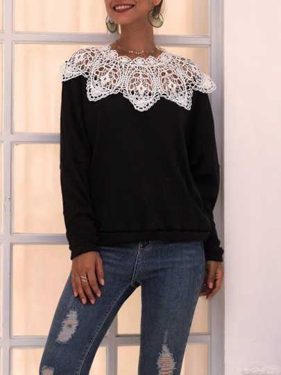 Black Patchwork Lace Bodycon Round Neck Long Sleeve Fashion Sweater