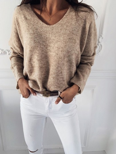 Apricot Patchwork Pastel V-neck Long Sleeve Fashion Sweater Pullover