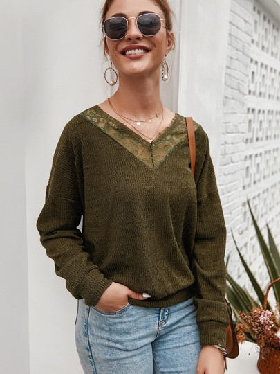 Green Patchwork Lace V-neck Long Sleeve Fashion Pullover Sweater