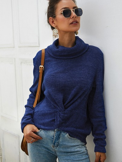 Blue Knot High Neck Long Sleeve Fashion Pullover Sweater