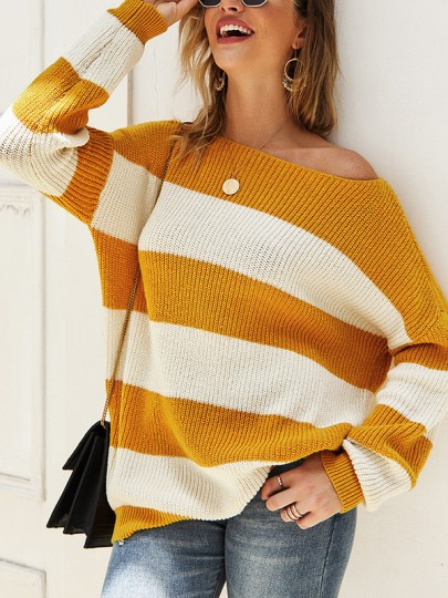 Yellow White Striped One Shoulder Long Sleeve Pullover Sweater