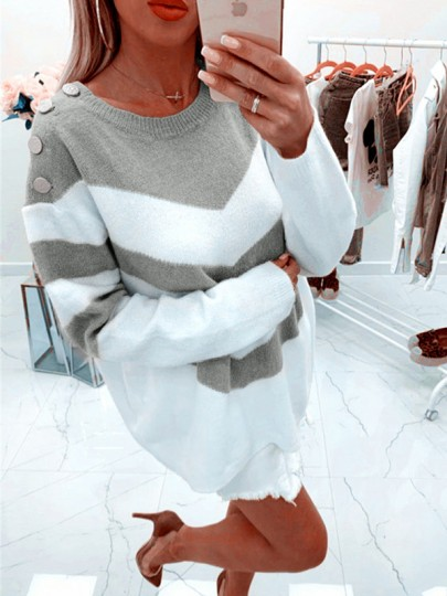 Grey Gingham Buttons Bodycon Comfy Hit Color Going out Sweater