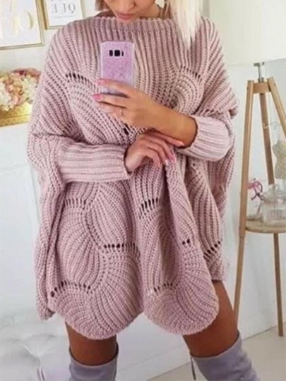 Pink Cut Out Wavy Edge Bodycon Dolman Sleeve Going out Sweaters